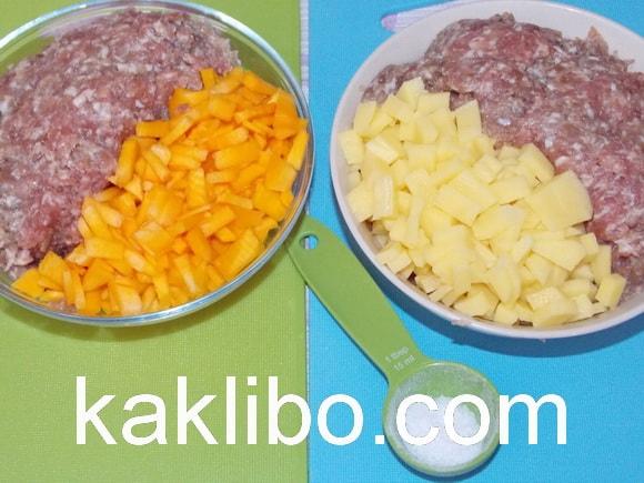 Мясной фарш с картофелем и тыквой